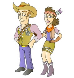 Sheriff and beauty vector image vector image