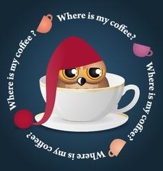 Sleepy owl and dance colored coffee cups vector image