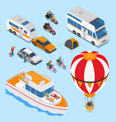 traveling people isometric set vector image