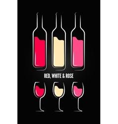 wine glass bottle label design background vector image