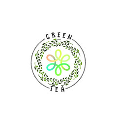 badge as part of the design - green tea sticker vector image vector image