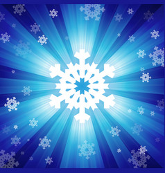 Blue color burst of light with snowflakes vector