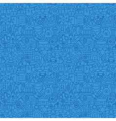 Blue Thin Line Law and Justice Seamless Pattern vector image vector image