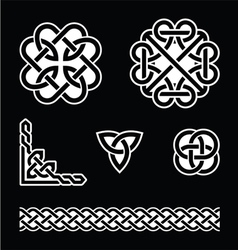 Celtic knots patterns in white on black background vector image