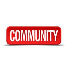 Community red three-dimensional square button vector
