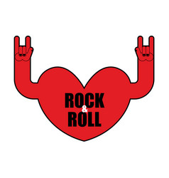 heart rock logo rock and roll hand musical emblem vector image