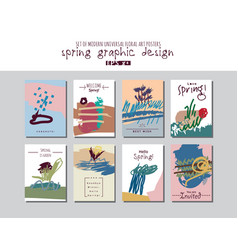 spring set universal floral cards or posters vector image
