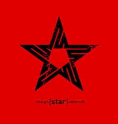 Abstract design element black star with grunge vector image