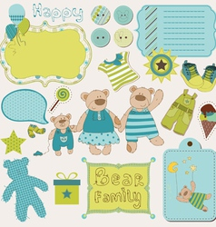 bear family baby design elements vector image