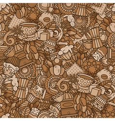 Coffee Doodle Seamless Pattern vector image vector image