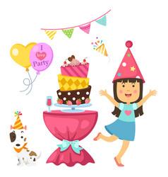 happy birthday party kids set vector image