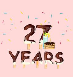 happy birthday twenty seven years vector image vector image