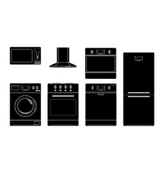 home appliances black silhouette icons vector image