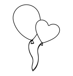 sketch silhouette couple balloons flying romantic vector image vector image