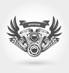 Winged motorcycle engine emblem - chopper bike vector