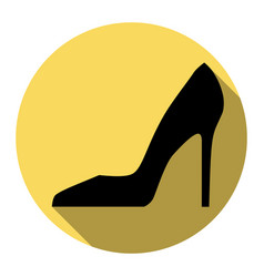 woman shoe sign flat black icon with flat vector image
