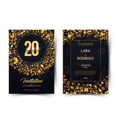 20th years birthday black paper luxury vector
