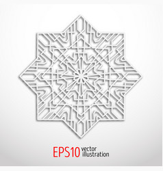 3d white geometric snowflake vector image