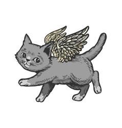 angel flying kitten color sketch engraving vector image