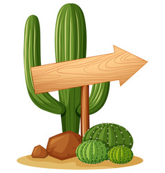 Arrow sign in cactus garden vector