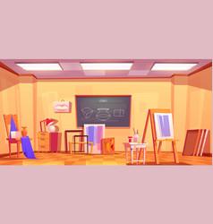 Art classroom empty artist studio interior room vector