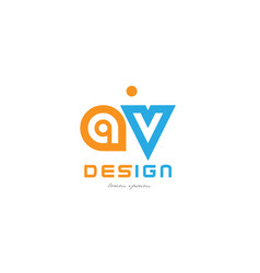 Av a v orange blue alphabet letter logo vector