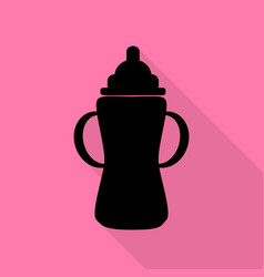 baby bottle sign black icon with flat style vector image