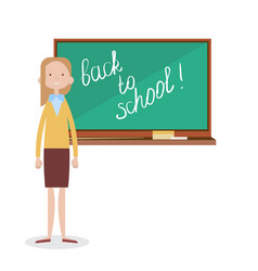Back to school female teacher standing in front of vector