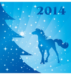 Background with horse silhouette Christmas tree vector image