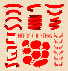 beg set of red ribbons laurels and speech vector image
