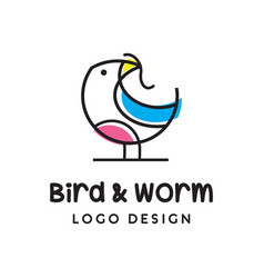 bird and worm logo vector image