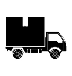 black silhouette transport truck with vagon vector image