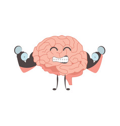 brain charactersathlete swinging strong exercises vector image