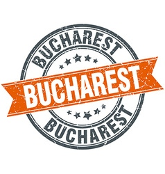 Bucharest red round grunge vintage ribbon stamp vector