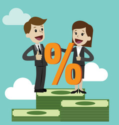 businessman and businesswoman and percent sign vector image