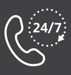 call 24 7 line icon support service and website vector image