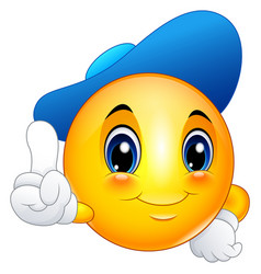 cartoon emoticon smiley wearing a cap and pointing vector image