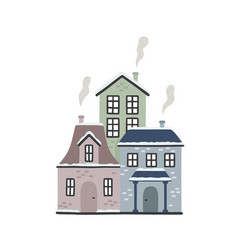 cartoon winter houses vector image