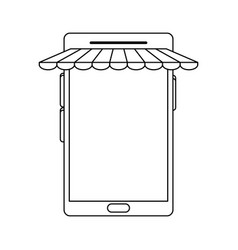 Cellphone with store sunshade commerce or online vector