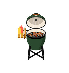 Charcoal barbecue grill with grilled sausages vector