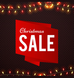 christmas sale shine banner design with garland vector image