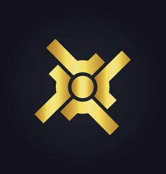 Circle shape target gold logo vector