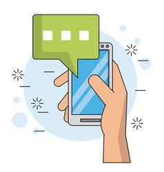 Color background with hand holding smartphone with vector