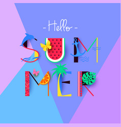 colorful hello summer banner with signs and vector image