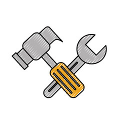 construction hammer and wrench tool support repair vector image