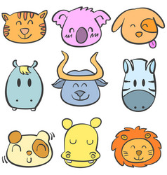 Doodle of animal style cute collection vector