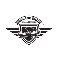 emblem template with retro airplane design element vector image