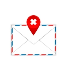 Envelope with a red cross mark flat icon vector