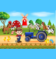 Farm scenes with many animals and farmers vector