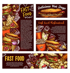 fast food street meals and soda sketch vector image
